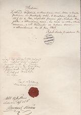 Historische Handschrift 1856 Palmsdorf Harikovce Slowakei Stempel Siegel Zeugnis