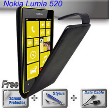 Black Leather Flip Case Cover for Nokia Lumia 520 + FREE SP & Stylus & Cable