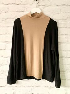 MUDO Collection Polo Neck Size Small BLACK BROWN | Top Long Sleeve Work Office