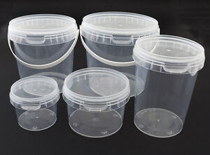 Clear Plastic Tamper Proof Tubs Pot Buckets Storage Containers + Lid, 120ml - 1L