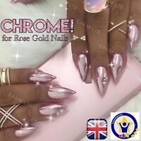 ROSE GOLD NAILS CHROME POWDER Mirror Effect Trendy Nail (R)