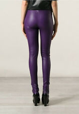 Balenciaga Classic Leather Leggings Stretch Purple Skinny Pants 38