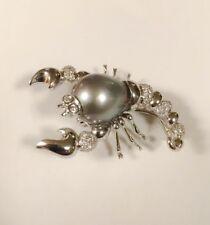 Estate 18k White Gold Round Brilliant Diamond Black Tahitian Pearl Scorpion Pin