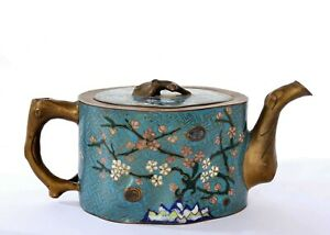 Old Chinese Gilt Cloisonne Enamel Teapot Bamboo Plum Blossom Squirrel Tree Bark