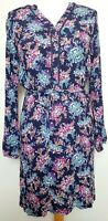 Per Una Navy Floral Print Long Sleeve Tunic Dress (UK Size 12) Waisted Mini