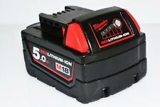 MILWAUKEE GENUINE 18V 5Ah BATTERY M18B5 RED LITHIUM-ION **EXCELLENT CONDITION