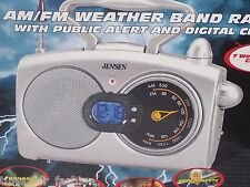 Jensen Weather Band Public Alert Radio & Blue backlit LCD clock Storm Siren