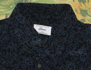 BRIONI Navy Blue Silk Long Sleeve Printed Button Down Shirt XL