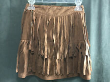 Amy Byer Suede Look Skirt Size Small (7/8) Brown Fringe Cowboy Soft Washable