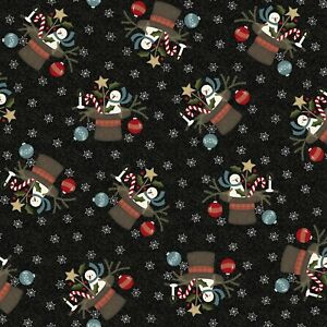 BTY Maywood Snowdays Black Snowman Ornament Christmas Flannel Fabric 9933-JK