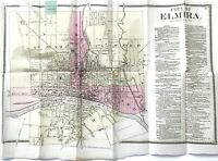 ELMIRA NEW YORK 1869 City Map - Hand Colored, F W Beers