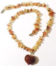 collier rétro bijou vintage tout en pierre quartz naturel poli coeur * 4932