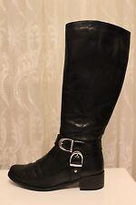 Karen Millen Black D Buckle Flat Leather Classic Long Riding Knee Zip Boots 4 37