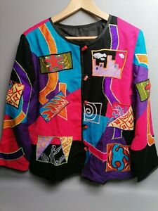 Vintage 80s embroidered graffiti style boxy jacket 14 16 pink purple applique