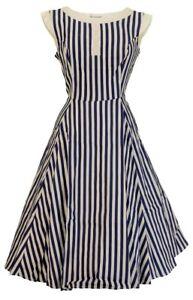 Hearts and Roses Striped Hepburn 50s Retro Dress
