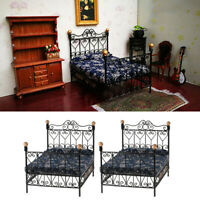 MagiDeal 2x 1:12 Metal Double Bed Dollhouse Miniature Furniture Bedroom