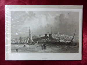 Antique engraving VIEW of RYDE, ISLE OF WIGHT c1830 Veduta art print Cropped #2