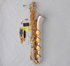 Professional TaiShan Baritone Saxophone Silver Gold Sax Low A Key German Mouth
