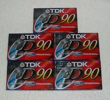 Lot of 5 New TDK D90 High Output 90 Minute IECI/Type I Audio Cassette Tapes