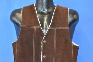 vintage 70s GENUINE LEATHER BROWN SUEDE SHERPA LINED SNAP UP VEST MEN'S SMALL S