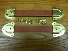 Antique Trunk Hardware-Two  Leather Handles, 4 Metal ends & fasteners--N