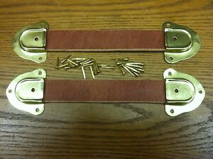 """Trunk, Chest, & Box-- Leather Handles-3/16"""" Thick-4-Metal End Caps+ Nails-N"""