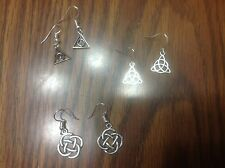 GET ALL 3 PAIR Stylish Silver Triquetra Dangle Celtic Knot Trinity Earrings