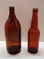 Vintage Brown Amber Beer Bottles Set Of 2 Anchor Hocking 8583 & HomeBr'g Co.