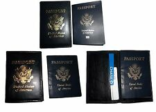 3 New USA Leather passport case wallet credit ATM card case ID holder BN
