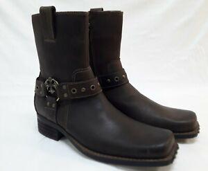 Mark Nason Mens Brown Leather Boots Cross Strap Studs Zipper 68153 Size 8.5