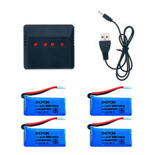 4pcs 3.7V 500mAh Lipo Battery+4 In1 Charger Cable for JJRC H31 RC ​Quadcopter US