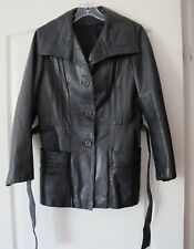 leather jacket black women clothes size 12  pre owned