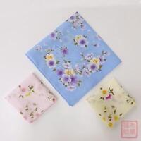 Womens Cotton Handkerchiefs Hanky Kerchiefs Apricot Flower Pocket Square 45*45cm