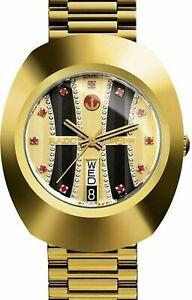 Vintage Rado Diastar Automatic 36 MM Gold Plated Red Stone Men's Wrist Watch