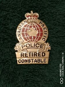 """Canadian Pacific Railway Police, Constable """"Retired"""" Hallmarked badge!"""