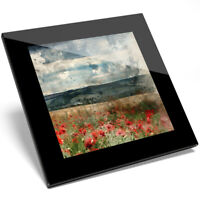 1 x Beautiful Poppy Field Glass Coaster - Kitchen Student Quality Gift #8291