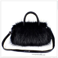 Black Ecological Faux Rabbit Fur Hand Bag with Adjustable Length Optional Strap