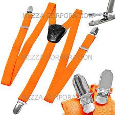 New Kid's Boy's girl's Vesuvio Napoli Suspenders Braces clip on formal Orange