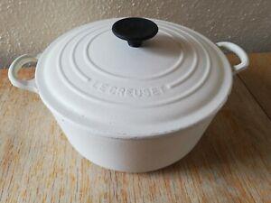 Vintage Le Creuset Casserole 24 Almond / Cream Cast Iron