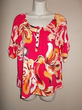 NWT Notations Womens Size M Peasant Blouse Multi-Color Floral Short Tab Sleeves