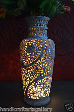 "12"" Marble Flower Vase Natural Stone Lattice Hand Carved Decor Bithday Gift H704"