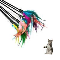 Fun Kitten Toy Cat Feather Bell Wand Teaser Rod Bead Play Pet Toys Ball T0T1