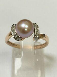 Stunning 9 Carat Rose Gold Cultured Pearl & Diamond Ring
