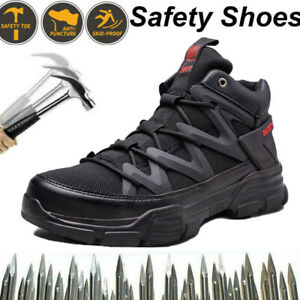 MENS SAFETY SHOES TRAINERS STEEL TOE CAP WORK BOOT HIKER SHOES BIACK SIZE UK