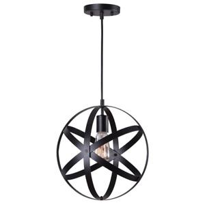 NEW!! Orbit 1-Light Black Mini Pendant with Black Metal Strap Design