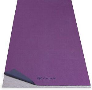 "Gaiam No-Slip Yoga/Pilates Mat Towel Grape/Navy 68""L x 24""W"