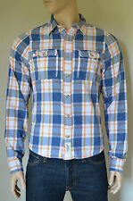 New abercrombie & fitch meacham lake sergé chemise en flanelle orange plaid shirt l