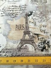 Timeless Treasures Fabric Eiffel Towers Paris Monuments French Script on Cream