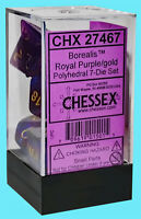 CHESSEX 7 die set BOREALIS POLYHEDRAL ROYAL PURPLE w/ GOLD NEW dice dungeons rpg