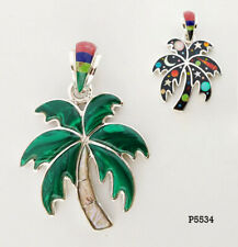 AWESOME HANDMADE PALM TREE TURQUOISE MALACHITE GALAXY INLAY .925 SILVER PENDANT